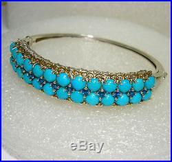 Sleeping Beauty Turquoise Bangle Bracelet 21cts! 14K YG Platinum S Silver 925