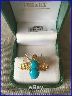 Sleeping Beauty Turquoise Bee Pin/Pendant 14K Yellow Gold