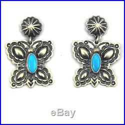Sleeping Beauty Turquoise Butterfly Earrings by DARREL CADMAN