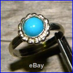 Sleeping Beauty Turquoise Cabochon Deco ring solid Sterling Silver. 925