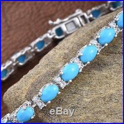 Sleeping Beauty Turquoise, Cambodian Zircon Silver Line Bracelet 8.00 14.00 ct