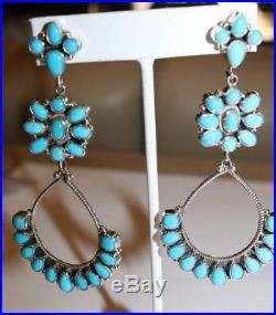 Sleeping Beauty Turquoise Chandelier Earrings Sterling Silver by D. Ashley