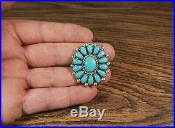 Sleeping Beauty Turquoise Cluster Ring Zuni artist Lorraine Waatsa size 7.5