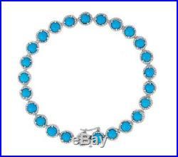 Sleeping Beauty Turquoise Diamond Cut Sterling Silver 7-1/4 Tennis Bracelet