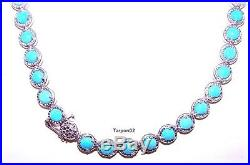 Sleeping Beauty Turquoise Diamond Cut Sterling Tennis Necklace 18 NEW
