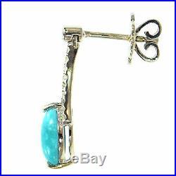 Sleeping Beauty Turquoise & Diamond Earrings 14k White Gold Fine Natural Blue