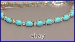 Sleeping Beauty Turquoise & Diamond Tennis Bracelet 18K Yellow Gold Over 7.25