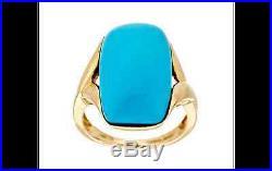 Sleeping Beauty Turquoise Elongated Cushion Ring 14K Gold