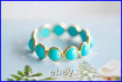 Sleeping Beauty Turquoise Eternity Band Ring in Size 7 with 18K Yellow Gold Over