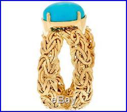 Sleeping Beauty Turquoise Gemstone Byzantine Band Ring Real 14K Yellow Gold QVC