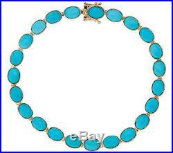 Sleeping Beauty Turquoise Gemstone Tennis Bracelet Real 14K Yellow Gold QVC