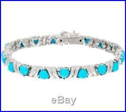 Sleeping Beauty Turquoise Heart Cut 6-3/4 Sterling Tennis Bracelet