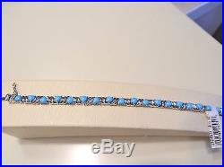 Sleeping Beauty Turquoise Heart Cut 8 Sterling Silver Tennis Bracelet NWT