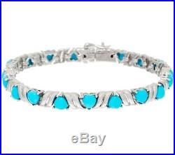 Sleeping Beauty Turquoise Heart Cut Sterling 7-1/4 Tennis Bracelet Qvc $309.00