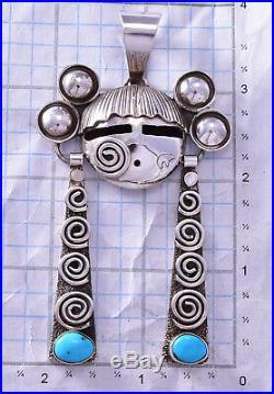 Sleeping Beauty Turquoise Hopi Maiden Pendant by Alex Sanchez 9M06A