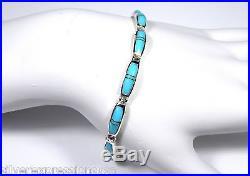 Sleeping Beauty Turquoise Inlay 925 Sterling Silver Link Tennis Bracelet 7-8'
