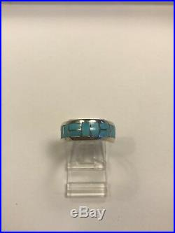 Sleeping Beauty Turquoise Inlay Band Native American Sterling Silver Size 8