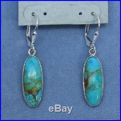 Sleeping Beauty Turquoise Leverback Earrings Sterling Silver Long Ovals 161703