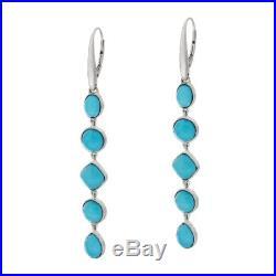 Sleeping Beauty Turquoise Multi-Cut Sterling Silver Drop Earrings