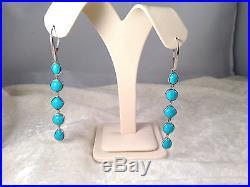 Sleeping Beauty Turquoise Multi-cut Sterling Silver Drop Earrings (m288-47)