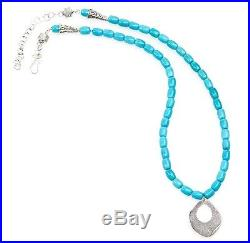Sleeping Beauty Turquoise Necklace with8x6mm Barrel Beads & Sterling Silver Penda