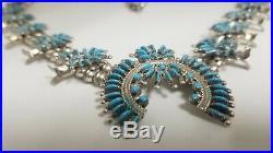 Sleeping Beauty Turquoise Needlepoint Zuni Squash Blossom Necklace Signed L. M