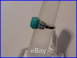 Sleeping Beauty Turquoise, Neon Apatite & White Topaz Silver Size 7