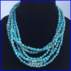 Sleeping Beauty Turquoise Nugget Sterling Silver Necklace Beads Navajo Pearls
