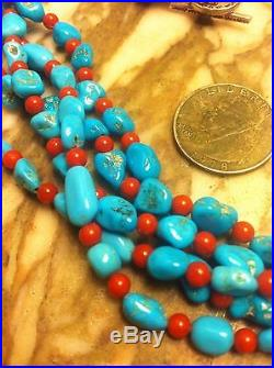 Sleeping Beauty Turquoise Nuggets And Red Coral Sterling Silver Necklace