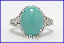 Sleeping Beauty Turquoise Oval Cabochon Diamond Halo White Gold Engagement Ring