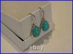 Sleeping Beauty Turquoise Pear-shape 925 Sterling Silver Drop Earrings Qvc-euc