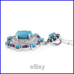 Sleeping Beauty Turquoise Platinum 925 Sterling Silver Jewelry Pendant Chain