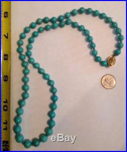 Sleeping Beauty Turquoise Round Beaded Necklace 25' 925 clasp