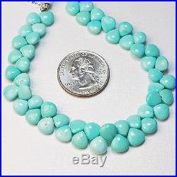 Sleeping Beauty Turquoise Smooth Heart Briolettes 8 inch strand