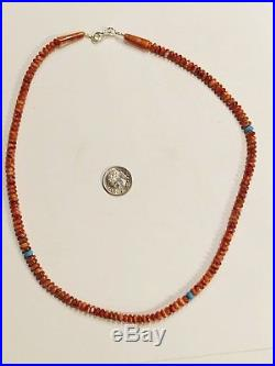 Sleeping Beauty Turquoise Spiny Oyster Necklace 18 In Rondel AAA Grade Sterling