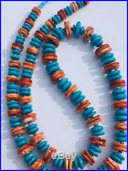 Sleeping Beauty Turquoise Spiny Oyster Necklace Zuni Native 35 In Sterling Beads
