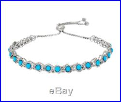 Sleeping Beauty Turquoise Station Sterling Silver Adjustable Bracelet Qvc
