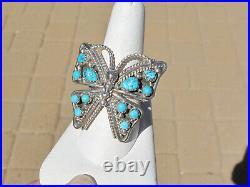 Sleeping Beauty Turquoise Sterling Butterfly Ring, sz 10, Signed T. Jones, Navajo