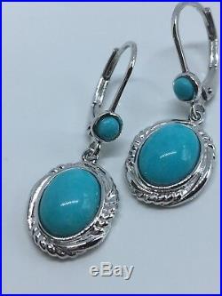 Sleeping Beauty Turquoise Sterling Drop Earrings Brand New