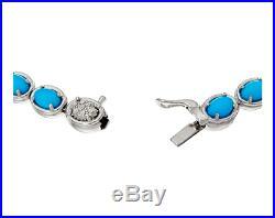 Sleeping Beauty Turquoise Sterling Silver 7-1/2 Tennis Bracelet Qvc $295