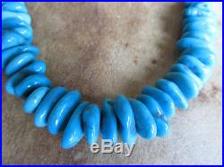 Sleeping Beauty Turquoise Sterling Silver Choker Native Necklace 925