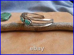 Sleeping Beauty Turquoise & Sterling Silver Cuff Bracelet signed H Navajo