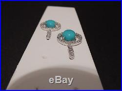 Sleeping Beauty Turquoise Sterling Silver Dangle Halo Earrings 4.79cts