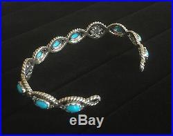 Sleeping Beauty Turquoise Sterling Silver Gemstone Cuff Bracelet