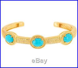 Sleeping Beauty Turquoise Sterling Silver Hinged 6-3/4 Cuff -Goldtone- $244 QVC