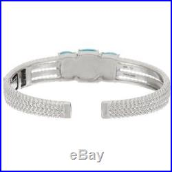 Sleeping Beauty Turquoise Sterling Silver Hinged Cuff