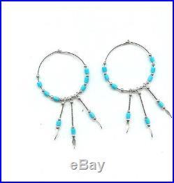 Sleeping Beauty Turquoise & Sterling Silver Hoop Earrings