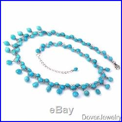 Sleeping Beauty Turquoise Sterling Silver Necklace 22.4 Grams NR