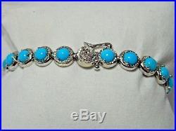 Sleeping Beauty Turquoise Sterling Silver Tennis Bracelet 6 3/4