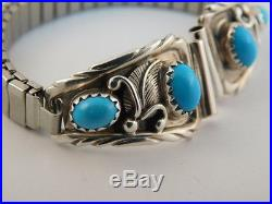 Sleeping Beauty Turquoise Sterling Watch Band Feather Signed Rb Robert Becenti